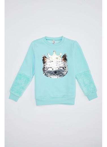 DeFacto Kız Çocuk Payet İşlemeli Sweatshirt Turkuaz